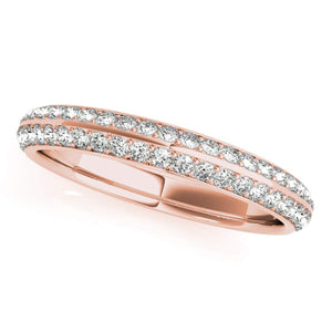 1/4 Ct Round Diamond Unique Hand-Crafted Wedding Band In 10K Solid Rose, White And Yellow Gold - Artsyjewels