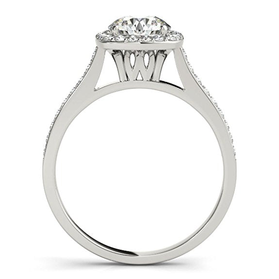 Classic 1/2 Ct. Ttw Halo Engagement Diamond Ring Crafted In 14k Solid Gold - Artsyjewels