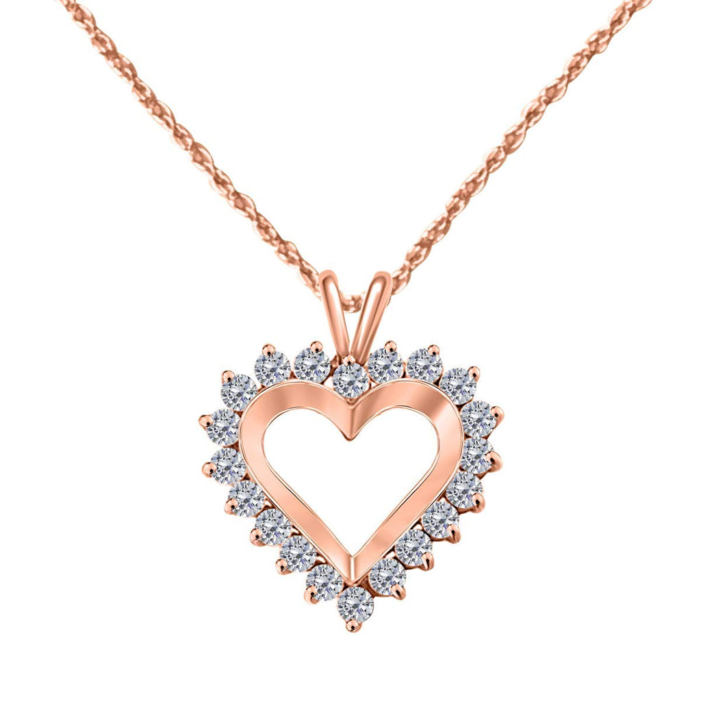 Classic 1.00 Carat Diamond Heart Pendant In 14K  Gold With 18'' Chain - Artsyjewels