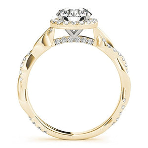 Pretty Diamond Engagement Wedding Ring In 14k Solid Gold 1.30 Carat Intertwine Shank - Artsyjewels