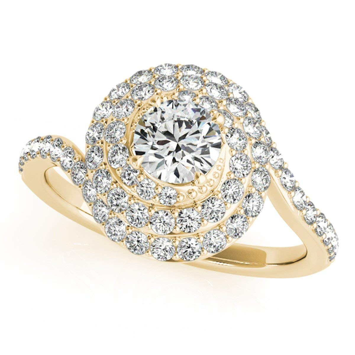 Beautiful 1 Carat Halo Diamond Dome Shaped Engagement Ring In 14k Gold - Artsyjewels