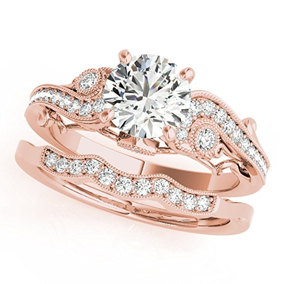 Beautiful Diamond Engagement Bridal Ring Set 14K Solid Rose Gold 0.60 Ct. - Artsyjewels