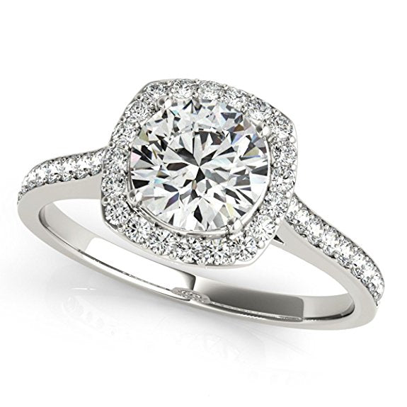 1/2 Ct. Ttw Halo Engagement Diamond Ring Crafted In 14k Solid Gold - Artsyjewels