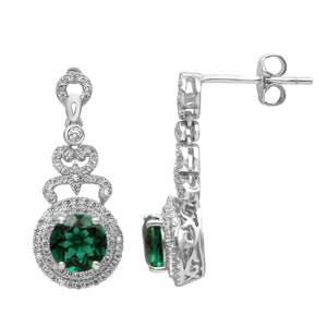 Classic Sterling Silver Round Shaped Emerald CZ Pendant-Earrings Set - Artsyjewels
