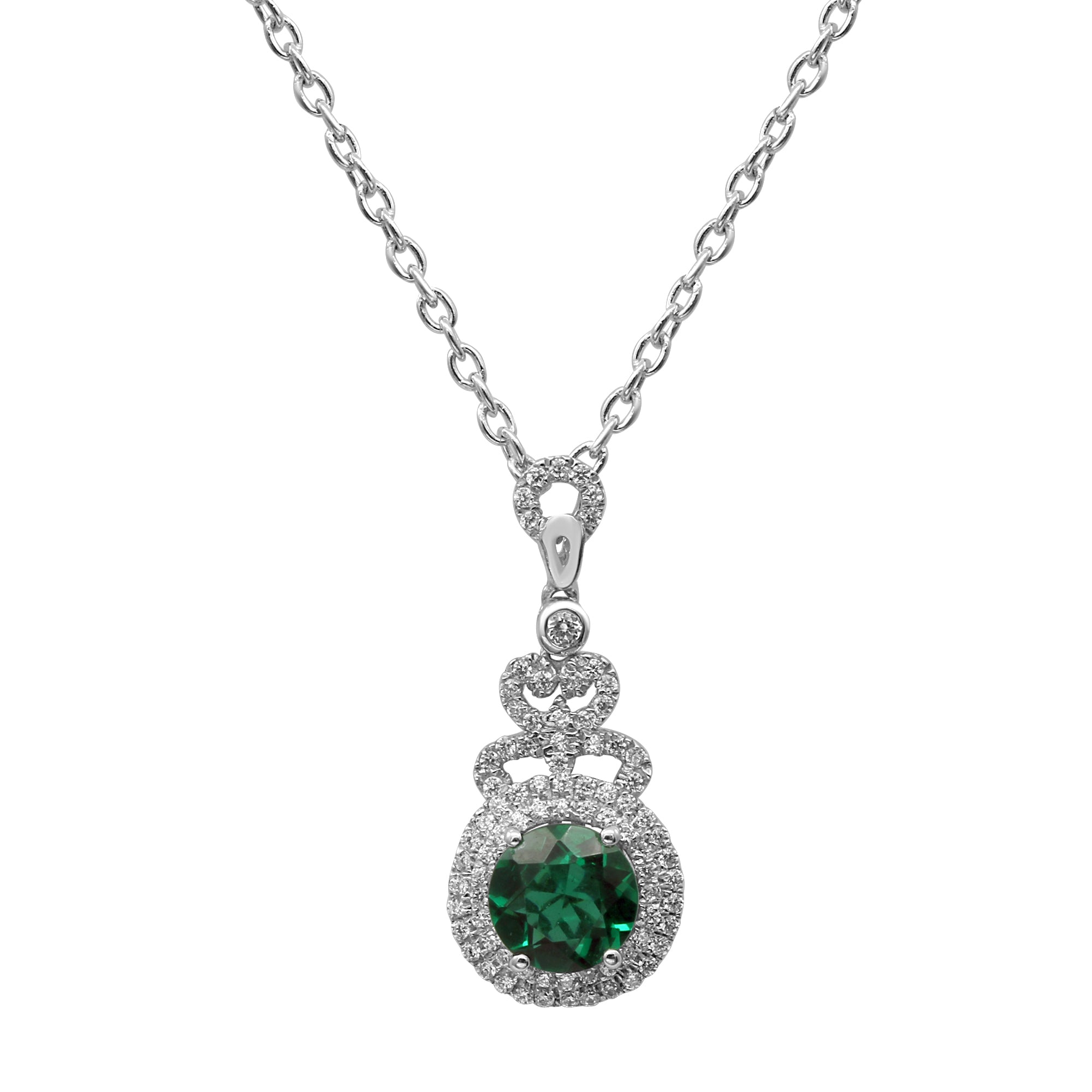 Classic Sterling Silver Round Shaped Emerald CZ Pendant-Earrings Set