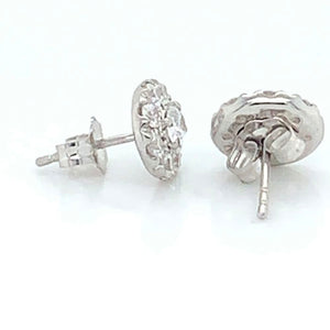 Lovely 0.25 CT TW Halo Lab-grown Round Cut Earrings in 14kt White Gold