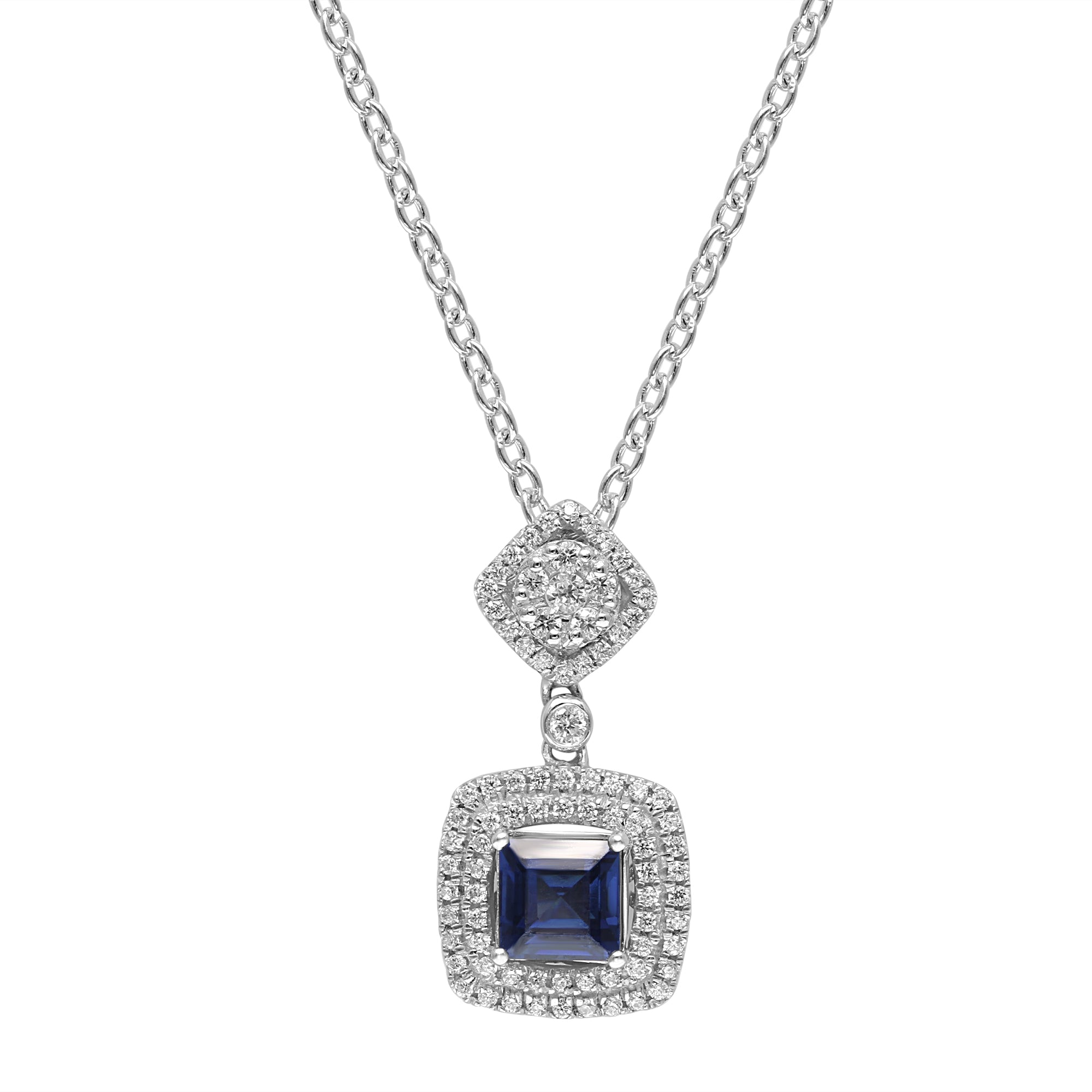 Lovely Sterling Silver Square Shaped Sapphire CZ Pendant-Earrings Set