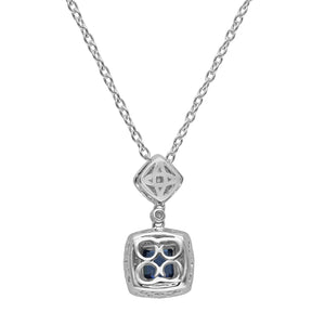 Lovely Sterling Silver Square Shaped Sapphire CZ Pendant-Earrings Set - Artsyjewels