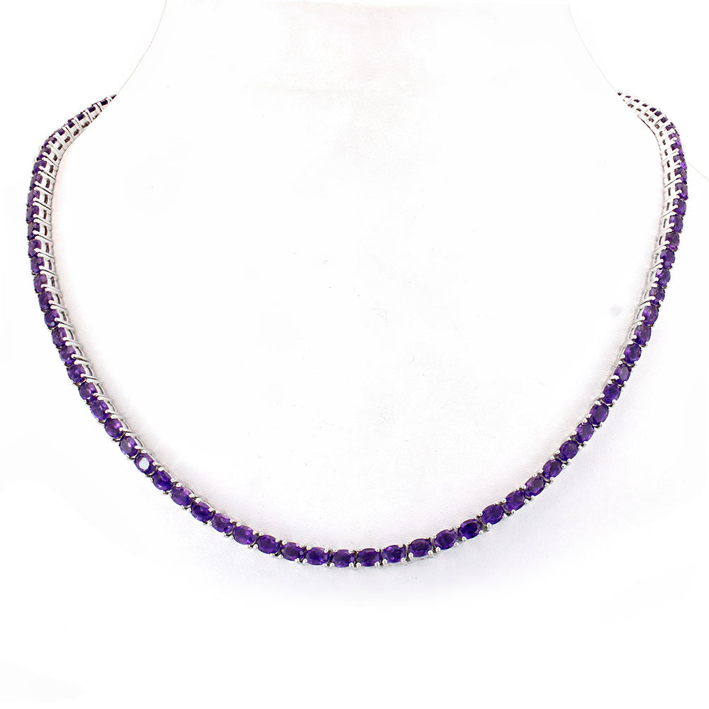 Single Row Silver Necklace with Gemstone African Amethyst, Garnet, Tanzanite, Peridot, Topaz & Multi-Colored