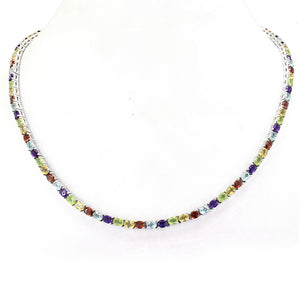 Stunning Single Row Silver Necklace with Gemstone African Amethyst, Garnet, Tanzanite, Peridot, Topaz & Multi-Colored - Artsyjewels