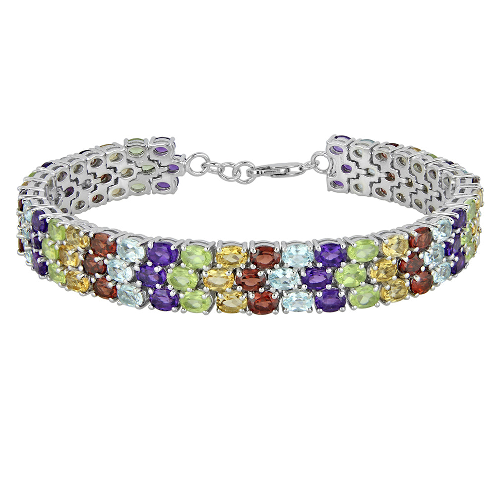 3 Row Silver Bracelet Gemstone African Amethyst, Topaz, Garnet, Tanzanite & Multi-colored - Artsyjewels