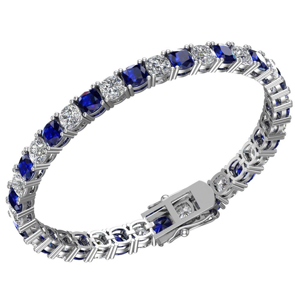 Created Blue Sapphire and White Topaz Tennis Bracelet in Solid Sterling Silver