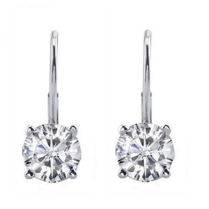 Classic Round Diamond (White|Black) Leverback Earrings in 14K Gold (Yellow|White) - Artsyjewels