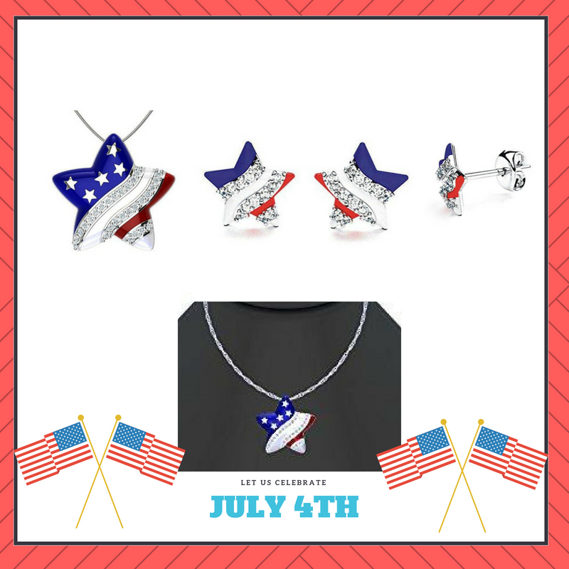 July 4th Sale - American Flag Earrings and Necklace Set in Sterling Silver - Artsyjewels