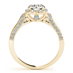 Elegant Custom Engagement Diamond Ring Crafted Ring In 14K Solid Gold 1 Carat Halo - Artsyjewels