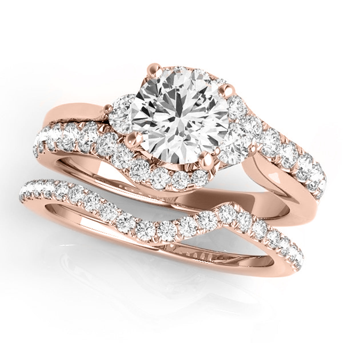 1 1/4 Carat T.W Two Tone Diamond Engagement Bridal Ring Set in 14K ...