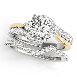 Stunning 1 1/4 Carat T.W Two Tone Diamond Engagement Bridal Ring Set in 14K Gold - Artsyjewels