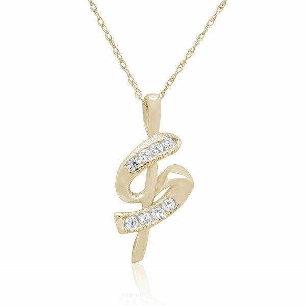 "0.15Ct Ttw Diamond ""S"" Shaped Pendant In 10K Gold With 18"" Chain"