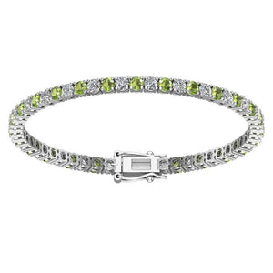 Pretty Created Alternate Gemstone Tennis Bracelet in Solid Sterling Silver