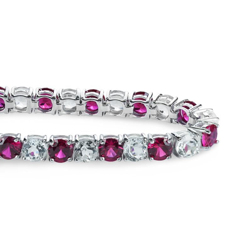 Sterling Silver Lab-grown Ruby and White Topaz Tennis Bracelet