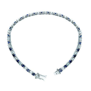 Bracelet with 3mm Round Blue Sapphires and White Topaz - Artsyjewels