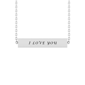 "Solid Sterling Silver 3-Sided ""I Love You"" Bar Necklace with Amethyst and White CZ"