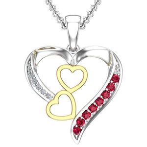 Multi-Colored Sterling Silver Heart Necklace for Valentines Day - Artsyjewels