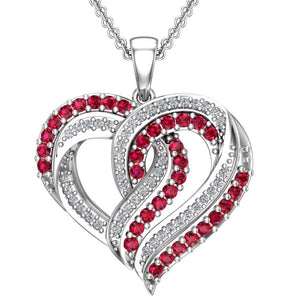 "Stunning Red and White Infused Heart Necklace in Sterling Silver with 16"" Chain - Artsyjewels"