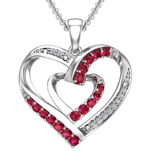 "Lab-Grown Ruby and Created White Sapphire Contrast Sterling Silver Heart Necklace with 16"" chain for Valentines day - Artsyjewels"