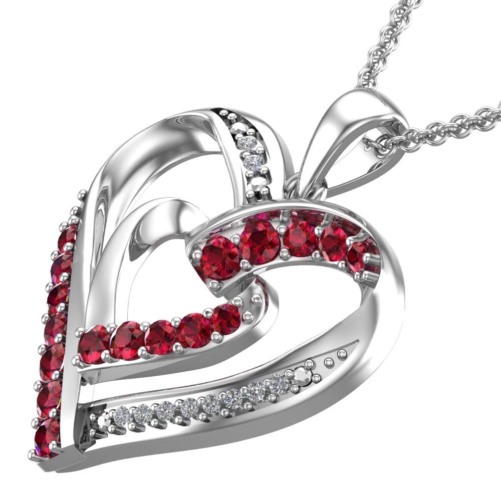 "Lab-Grown Ruby and Created White Sapphire Contrast Sterling Silver Heart Necklace with 16"" chain for Valentines day"