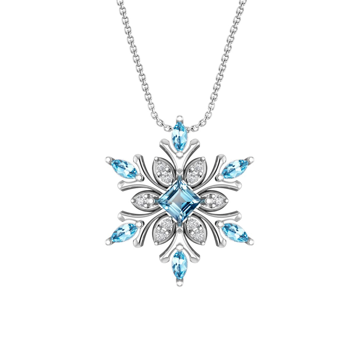 Sterling Silver Snowflake Necklace with Swiss Blue and White Topaz