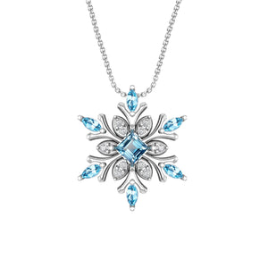 Classic Sterling Silver Snowflake Necklace with Swiss Blue and White Topaz - Artsyjewels