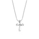 "Classic Sterling Silver Looped Cross Necklace in White Topaz with 18"" Chain - Artsyjewels"