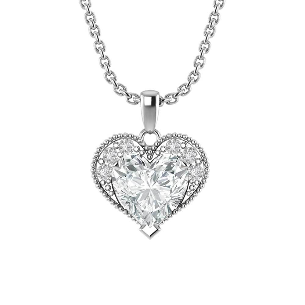 "Sterling Silver Winona Heart Necklace in White Topaz with 18"" Chain for Mother's Day"