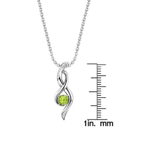 "Lovely Sterling Silver Infinity Necklace with 10mm Swiss Blue Topaz/Garnet/Peridot and 18"" Singapore Chain - Artsyjewels"