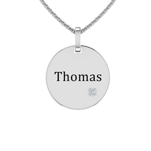Solid Sterling Silver Engraved Circular Necklace with White CZ