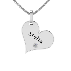 Silver Heart Engraving Necklace with White CZ Diamond