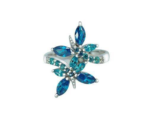 Sterling Silver Butterfly ring with Aquamarine CZ