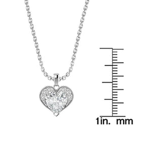 "Sterling Silver Winona Heart Necklace in White Topaz with 18"" Chain for Mother's Day - Artsyjewels"