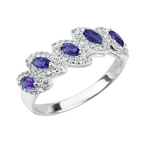 Sterling Silver Ring with 5 Marquise Cut Amethyst Gemstones and White Topaz - Artsyjewels
