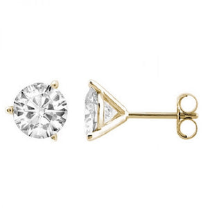 Elegant Round Diamond (White|Black) Martini Stud Earrings In 14K Gold (Yellow|White) - Artsyjewels