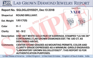 Classic 3.0 CTW SGL Certified Lab Grown Diamond Stud Earring in 14k White Gold