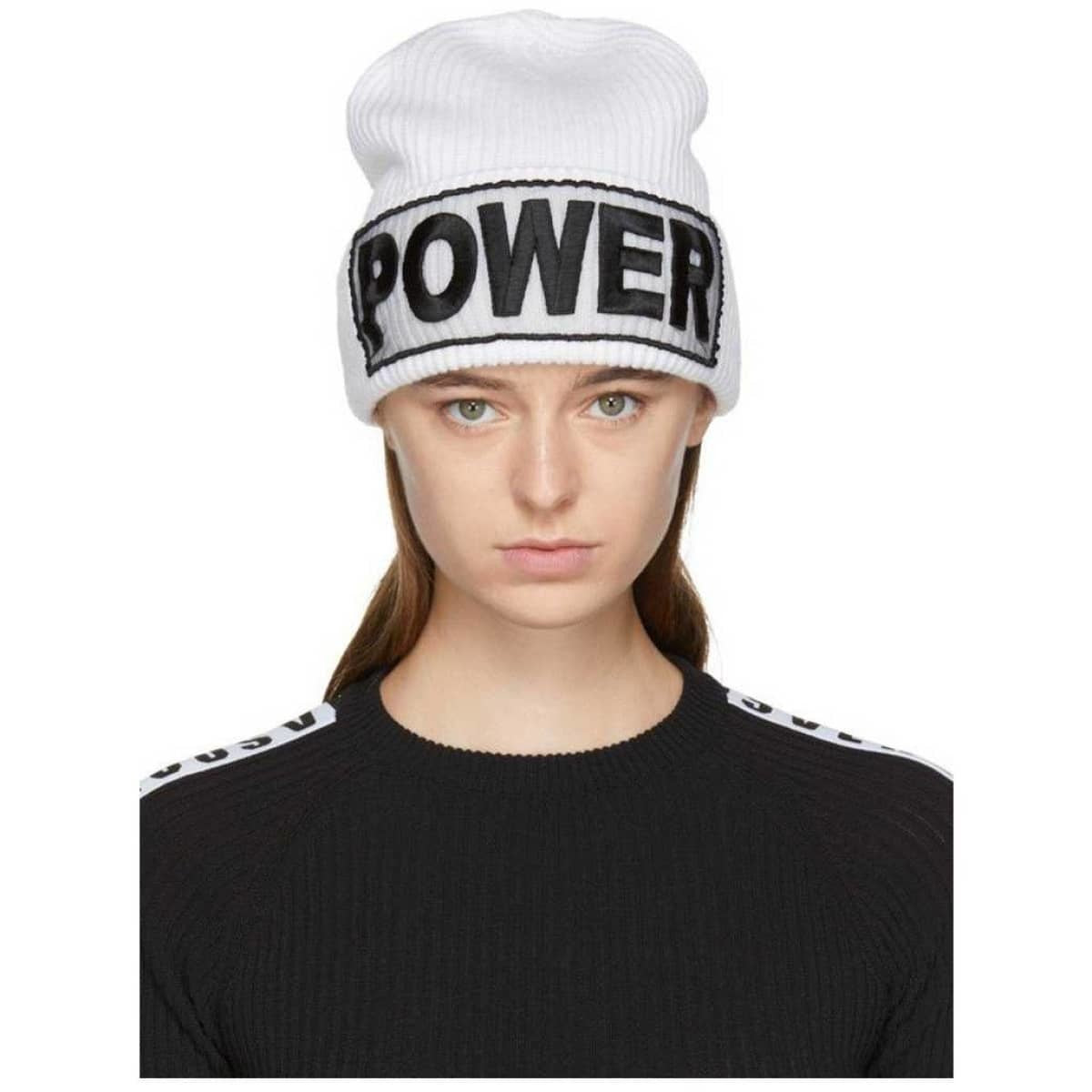 White 'Power' Versace Beanie Hat - Fitfineandfabulous.com