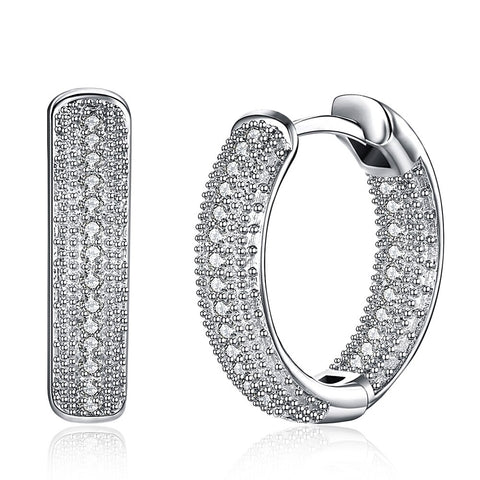 White Cubic Zirconia Hoop Earrings