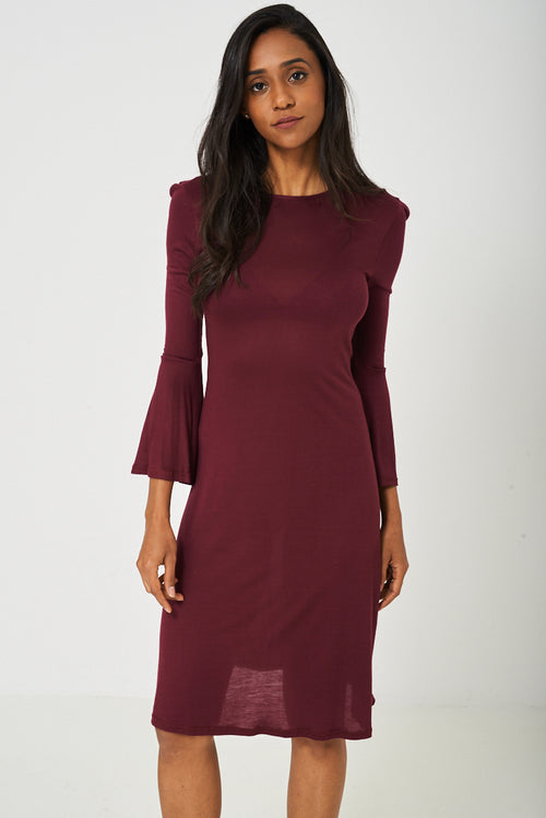 Bell Sleeve Dress in Burgundy - Fitfineandfabulous.com