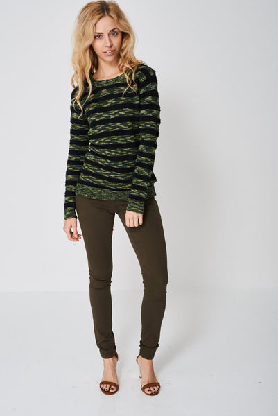Army Stripe Mohair And Knit Jumper Ex-Branded - Fitfineandfabulous.com