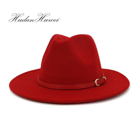 Women Red Wool Fedora Hat