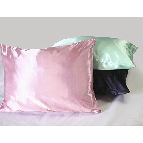 Sweet Dreams Luxury Satin Pillowcase with Zipper, Standard Size, White (Silky Satin Pillow Case for Hair) By Shop Bedding