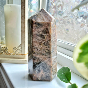 Black & Peach Moonstone Polished Point (XXL)