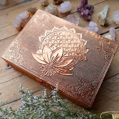 Flower of Life with Lotus Altar Box - Copper